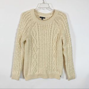 American Eagle Cream Colored Cable Knit Sweater